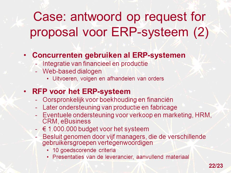 Case: antwoord op request for proposal voor ERP-systeem (2)
