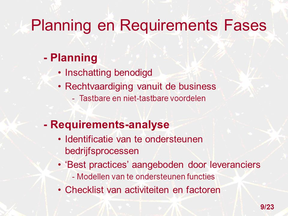 Planning en Requirements Fases