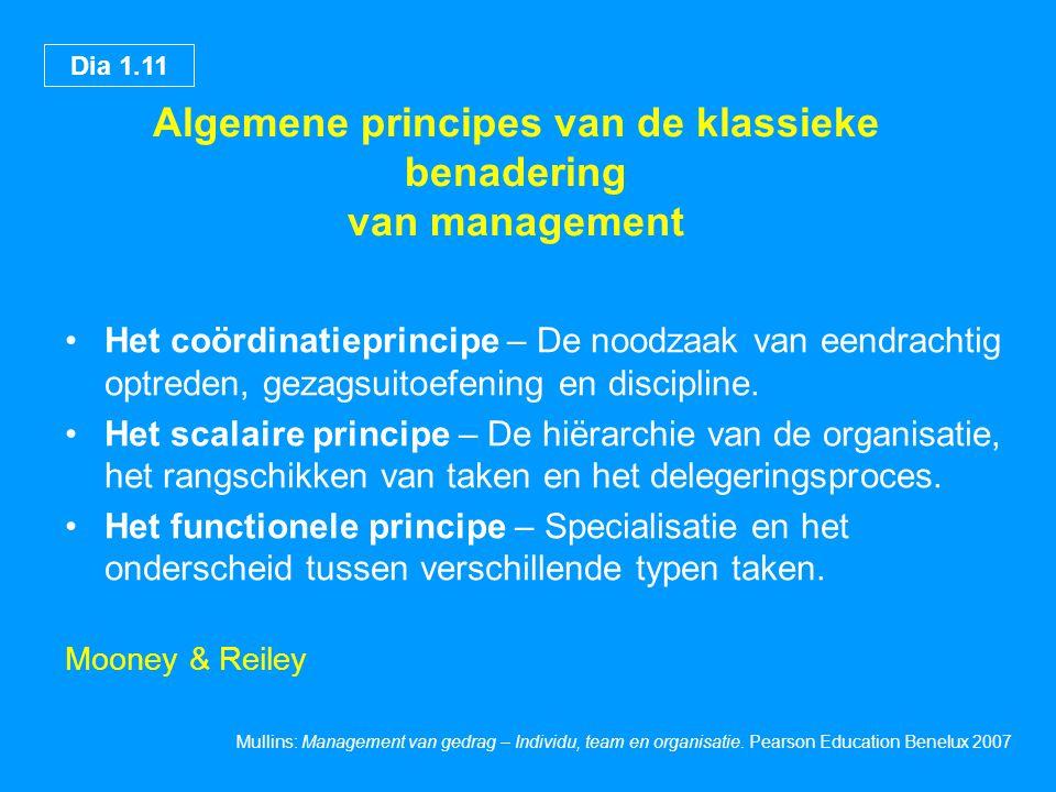 Algemene principes van de klassieke benadering van management