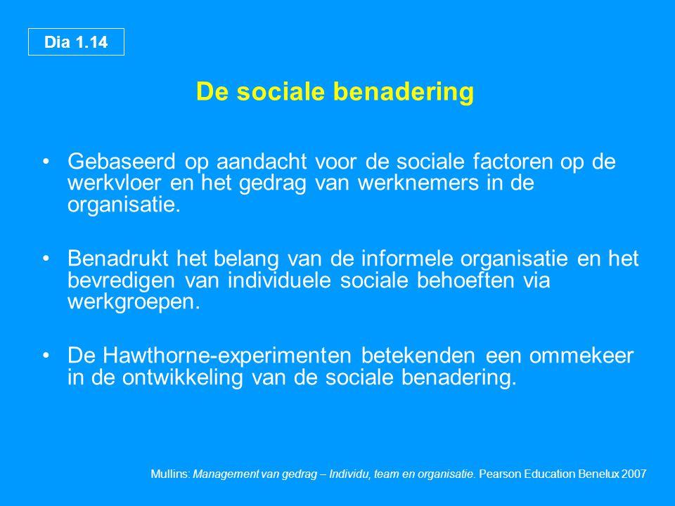 De sociale benadering Gebaseerd op aandacht voor de sociale factoren op de werkvloer en het gedrag van werknemers in de organisatie.