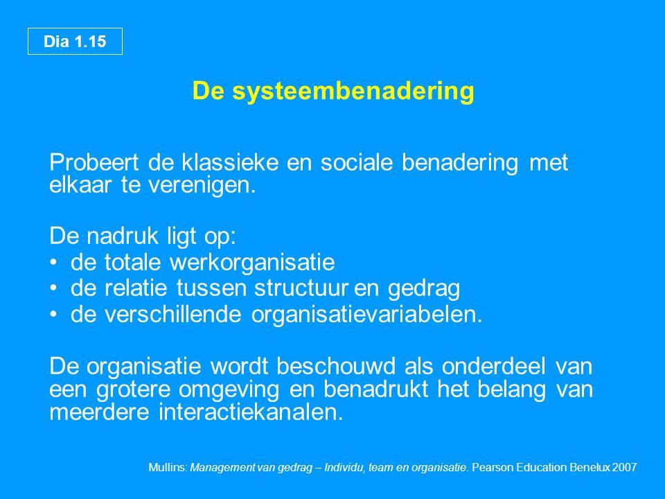 De systeembenadering Probeert de klassieke en sociale benadering met elkaar te verenigen. De nadruk ligt op:
