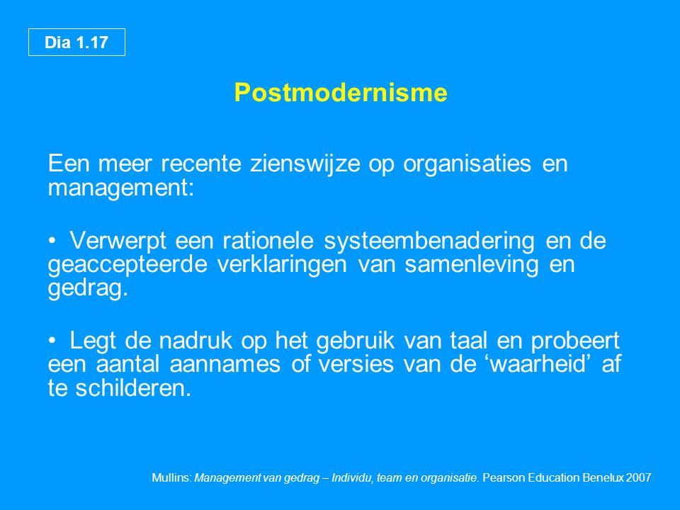 Postmodernisme Een meer recente zienswijze op organisaties en management: