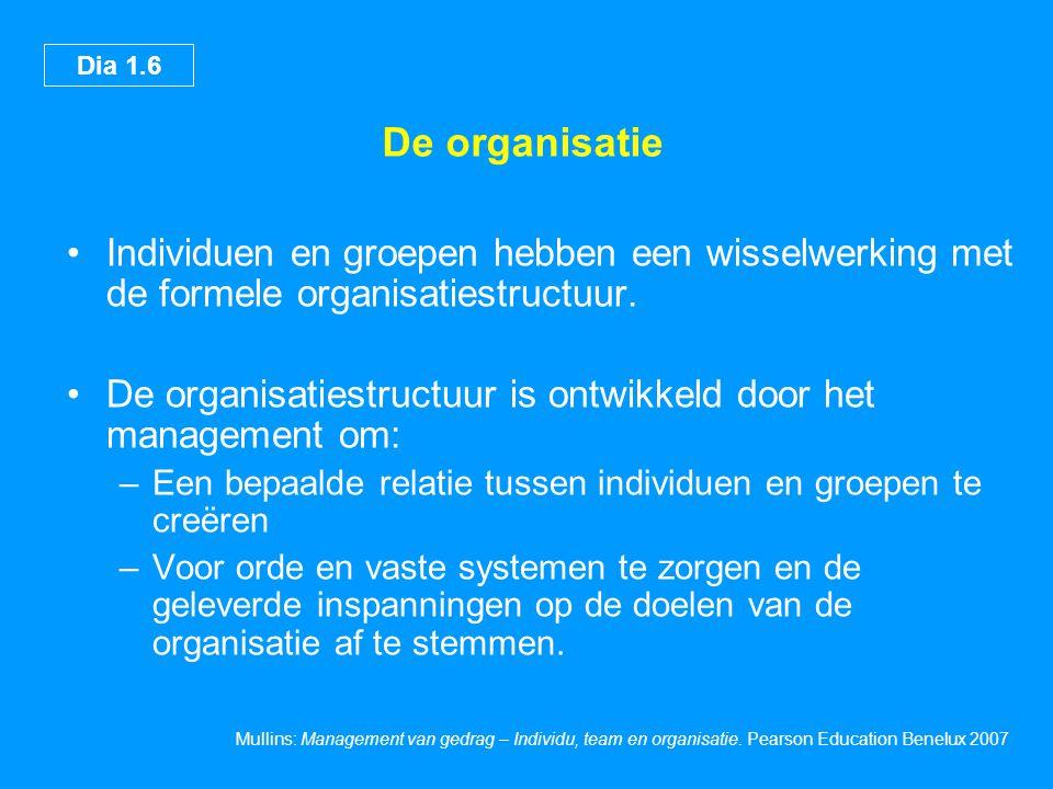 De organisatie Individuen en groepen hebben een wisselwerking met de formele organisatiestructuur.