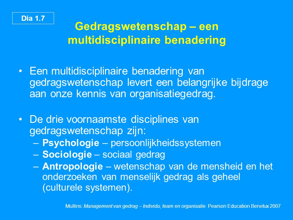 Gedragswetenschap – een multidisciplinaire benadering