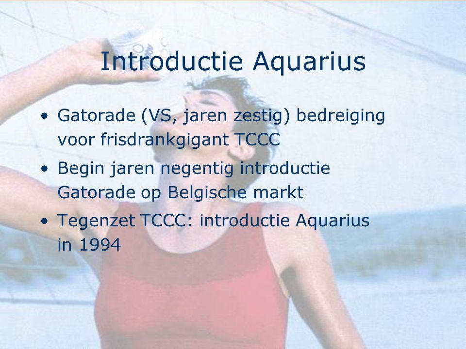 Introductie Aquarius Gatorade (VS, jaren zestig) bedreiging voor frisdrankgigant TCCC. Begin jaren negentig introductie Gatorade op Belgische markt.