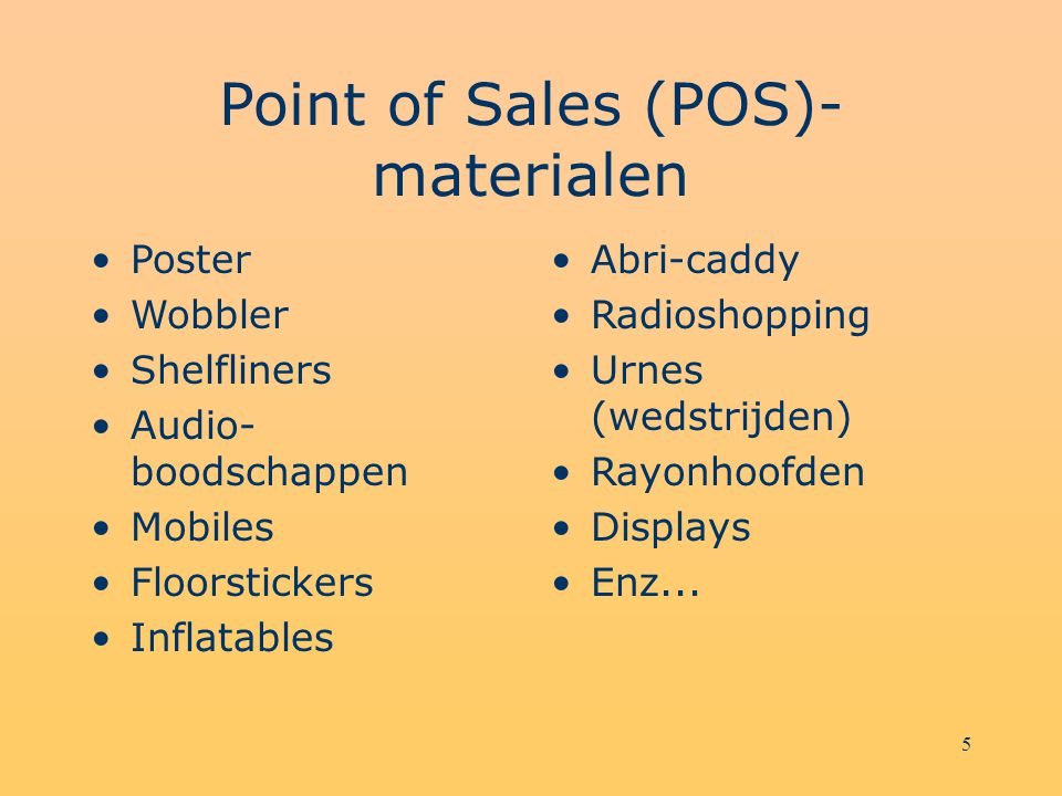 Point of Sales (POS)-materialen