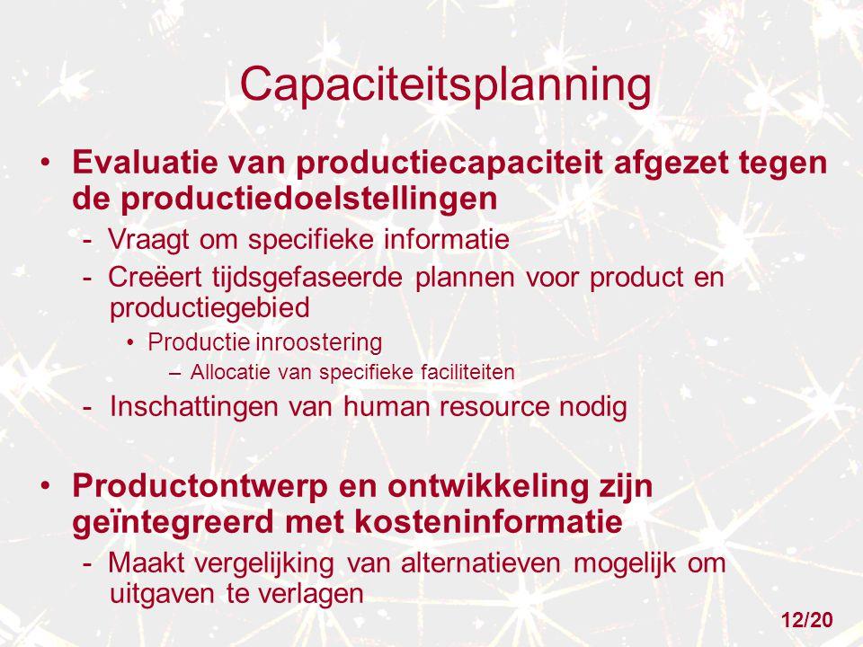 Capaciteitsplanning Evaluatie van productiecapaciteit afgezet tegen de productiedoelstellingen. - Vraagt om specifieke informatie.