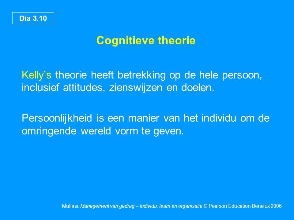 Cognitieve theorie Kelly's theorie heeft betrekking op de hele persoon, inclusief attitudes, zienswijzen en doelen.