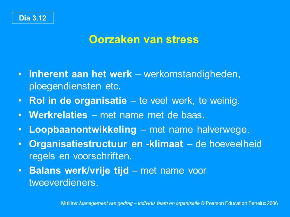 Oorzaken van stress Inherent aan het werk – werkomstandigheden, ploegendiensten etc. Rol in de organisatie – te veel werk, te weinig.