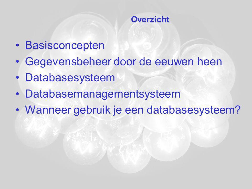 Gegevensbeheer door de eeuwen heen Databasesysteem