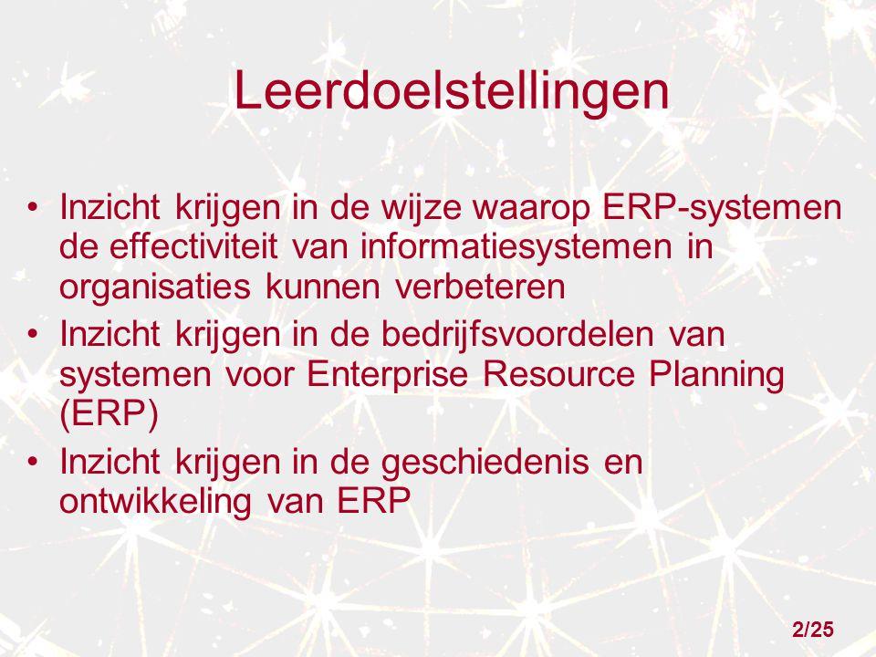 Leerdoelstellingen Inzicht krijgen in de wijze waarop ERP-systemen de effectiviteit van informatiesystemen in organisaties kunnen verbeteren.