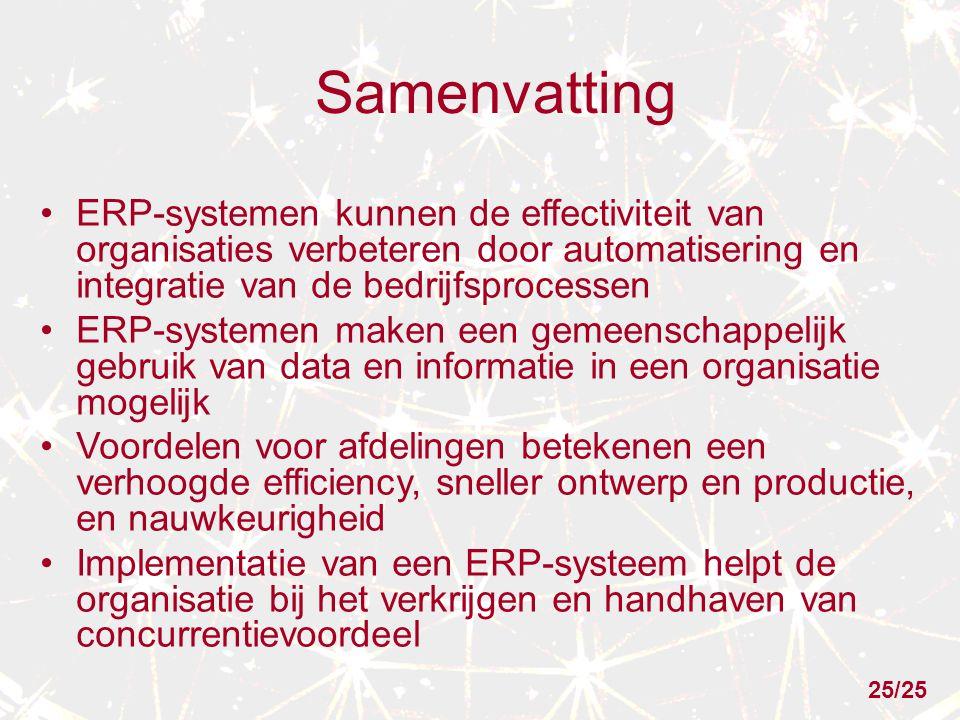 Samenvatting ERP-systemen kunnen de effectiviteit van organisaties verbeteren door automatisering en integratie van de bedrijfsprocessen.