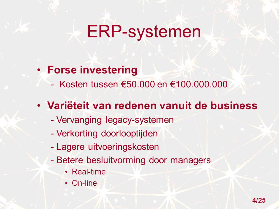 ERP-systemen Forse investering