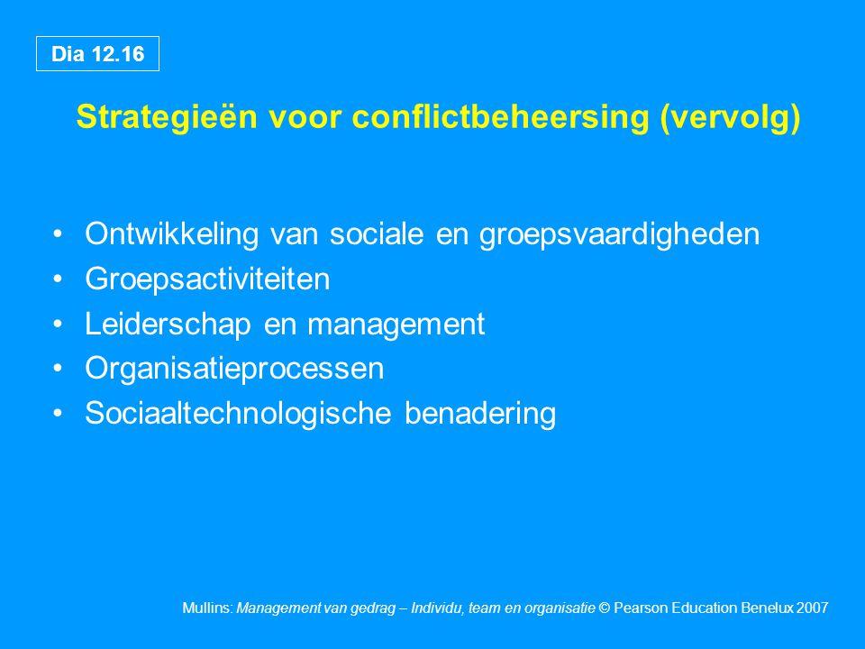 Strategieën voor conflictbeheersing (vervolg)