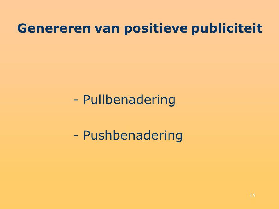 Genereren van positieve publiciteit - Pullbenadering - Pushbenadering