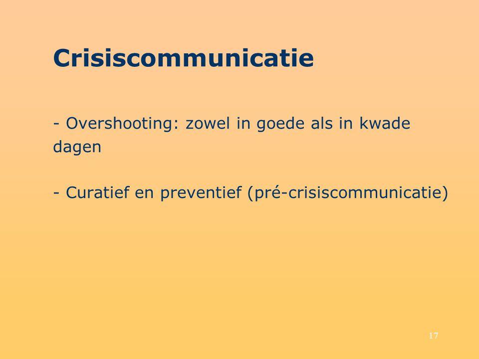 Crisiscommunicatie - Overshooting: zowel in goede als in kwade dagen