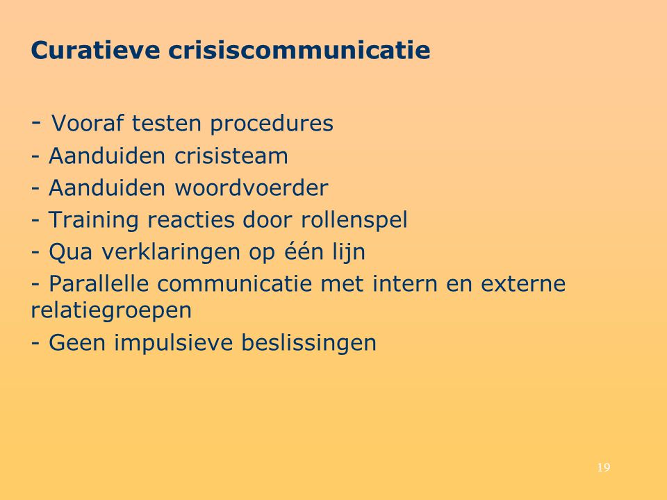 - Vooraf testen procedures