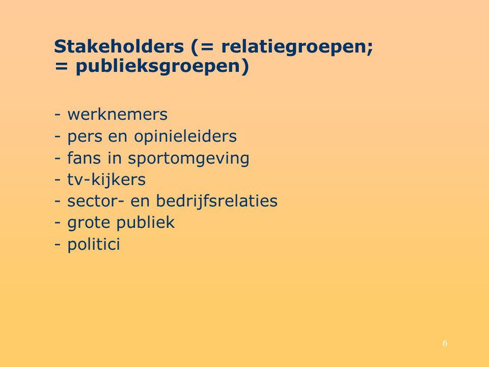 Stakeholders (= relatiegroepen; = publieksgroepen)
