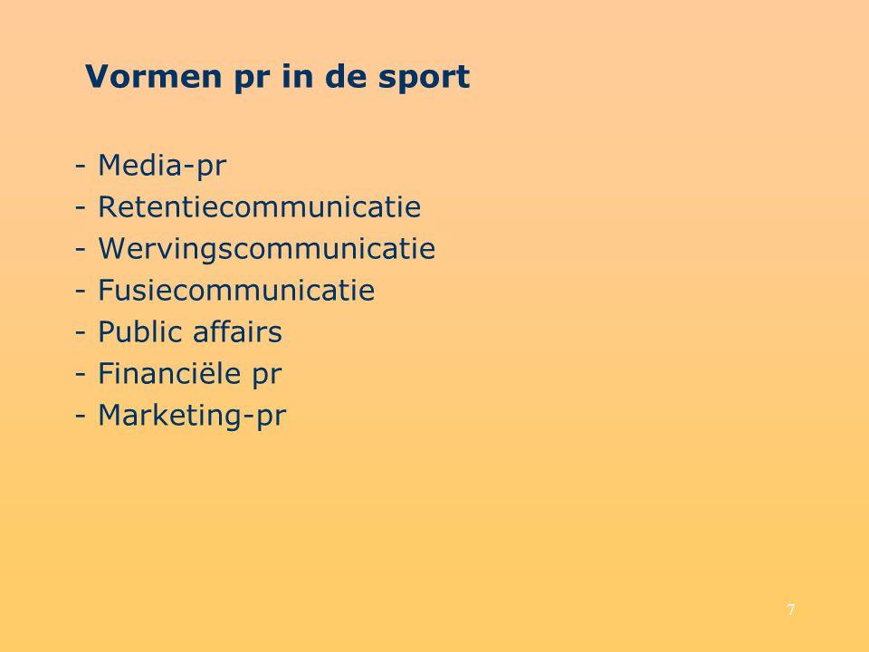 Vormen pr in de sport - Media-pr - Retentiecommunicatie
