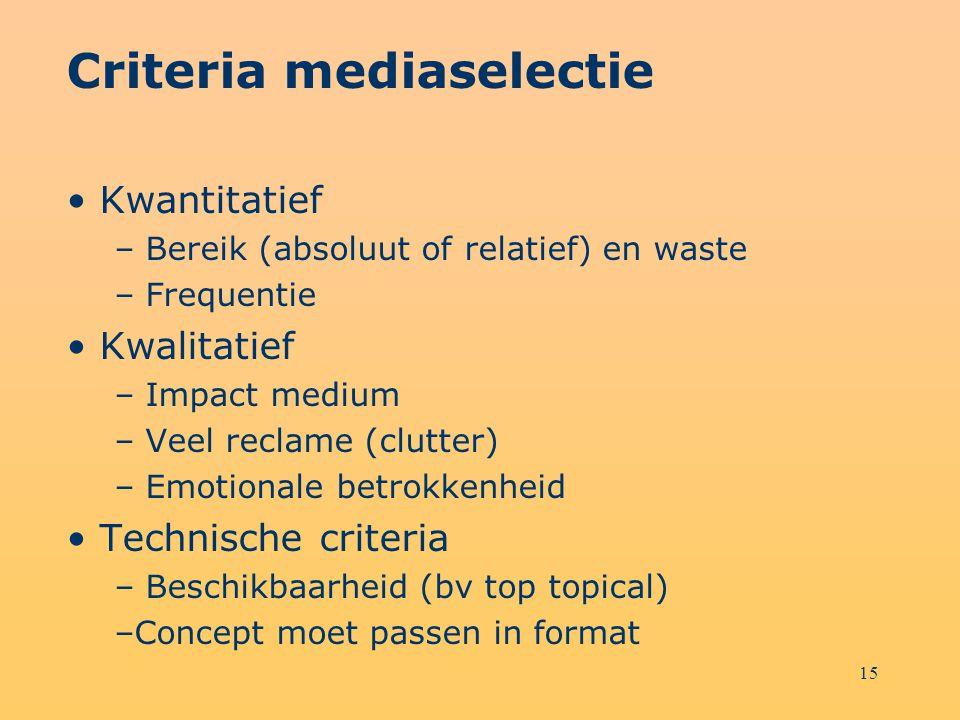 Criteria mediaselectie