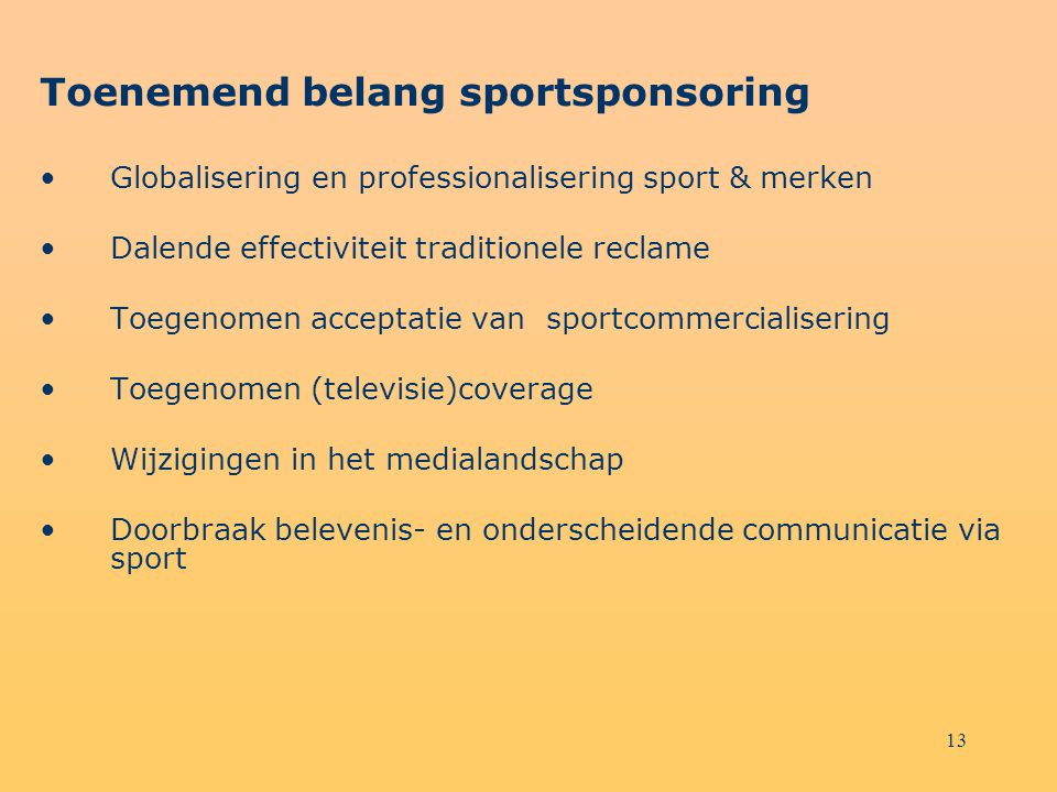 Toenemend belang sportsponsoring