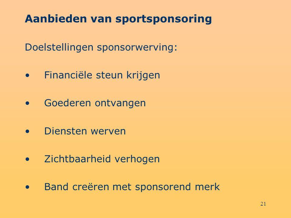 Aanbieden van sportsponsoring