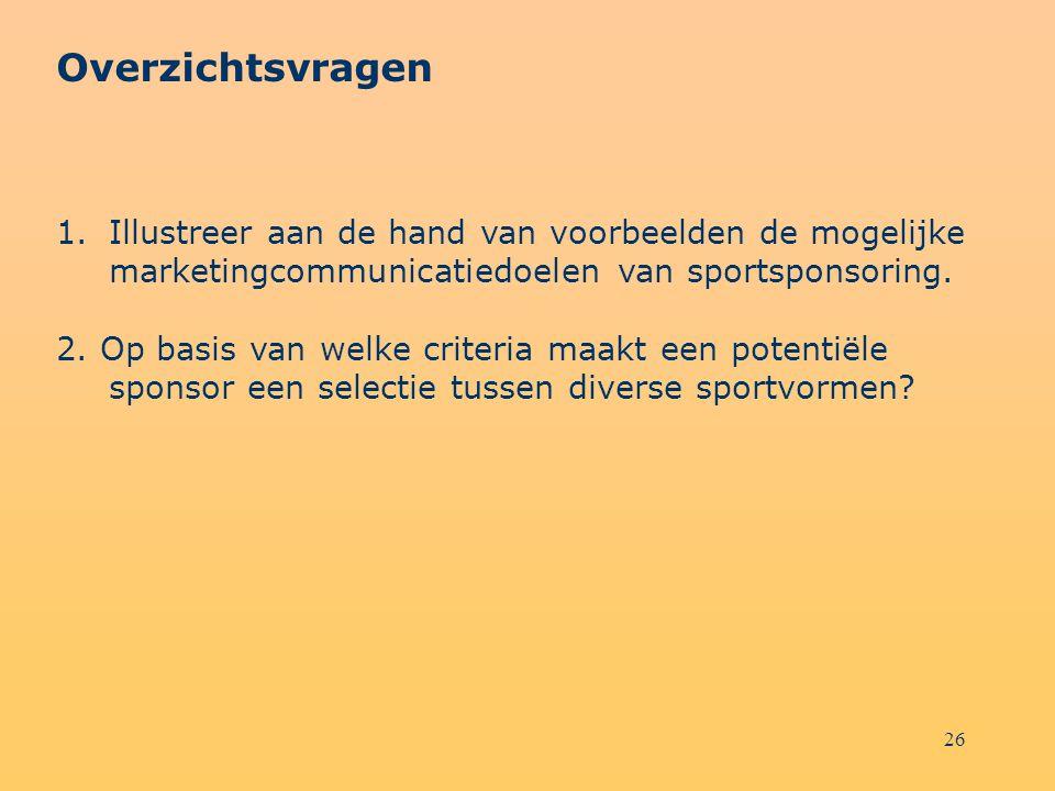Overzichtsvragen Illustreer aan de hand van voorbeelden de mogelijke marketingcommunicatiedoelen van sportsponsoring.