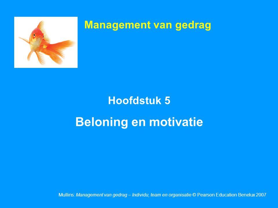 Management van gedrag Hoofdstuk 5 Beloning en motivatie 1