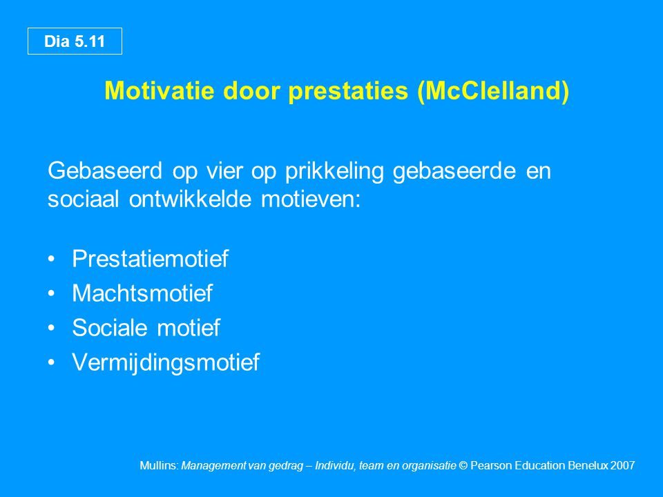 Motivatie door prestaties (McClelland)