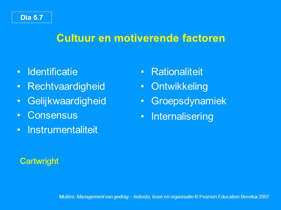 Cultuur en motiverende factoren