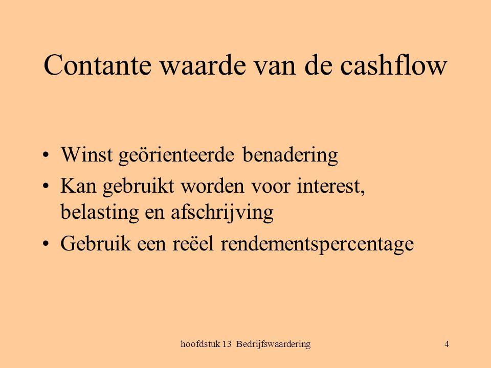 Contante waarde van de cashflow