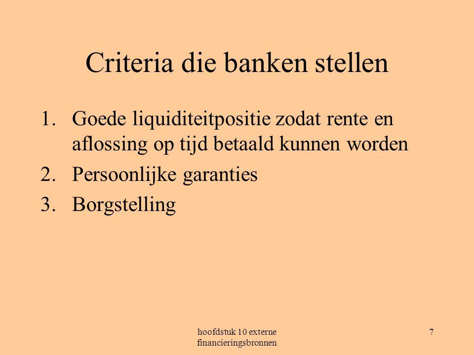 Criteria die banken stellen