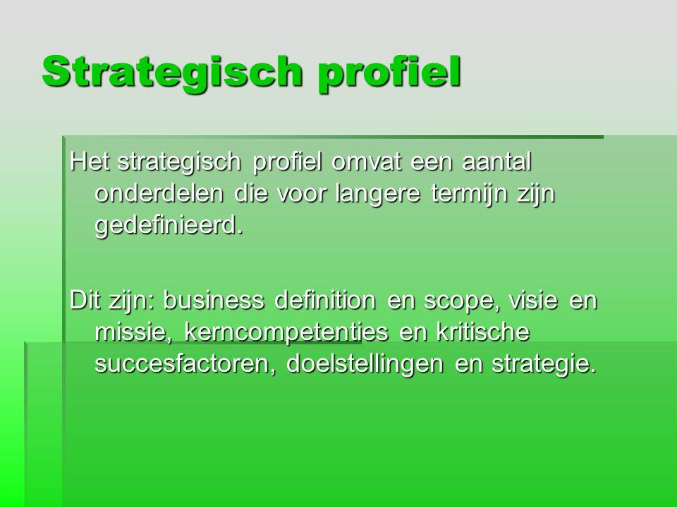 Strategisch profiel Het strategisch profiel omvat een aantal onderdelen die voor langere termijn zijn gedefinieerd.