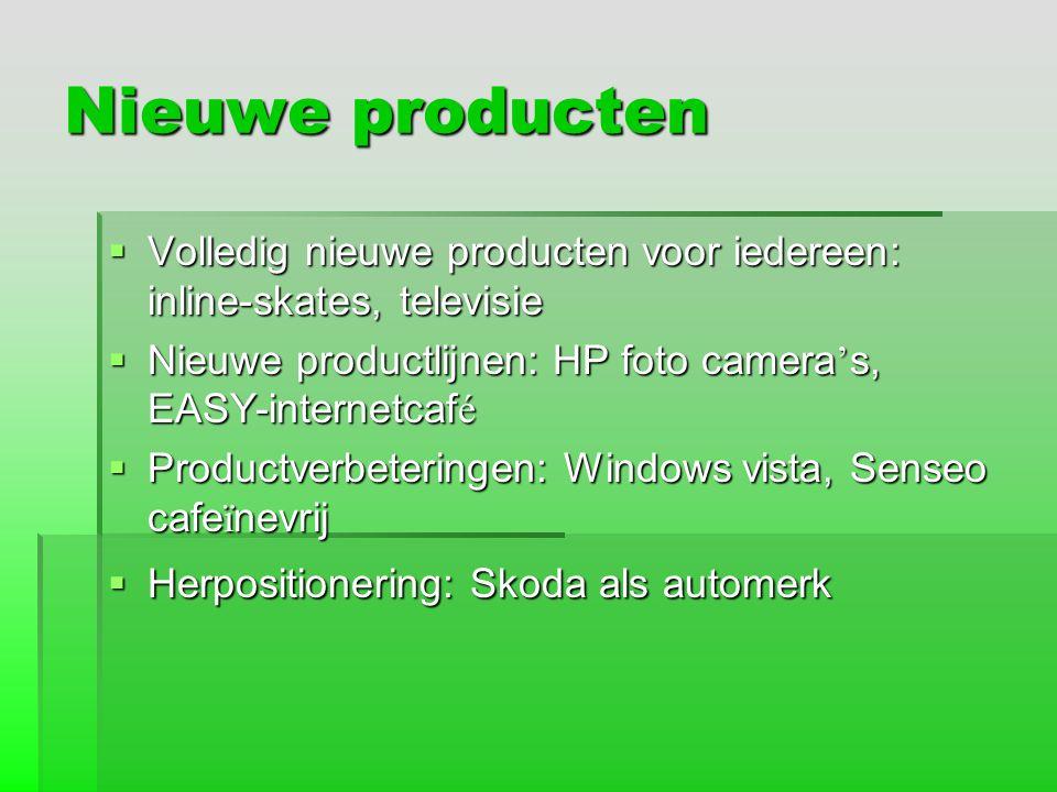 Nieuwe producten Volledig nieuwe producten voor iedereen: inline-skates, televisie. Nieuwe productlijnen: HP foto camera's, EASY-internetcafé.