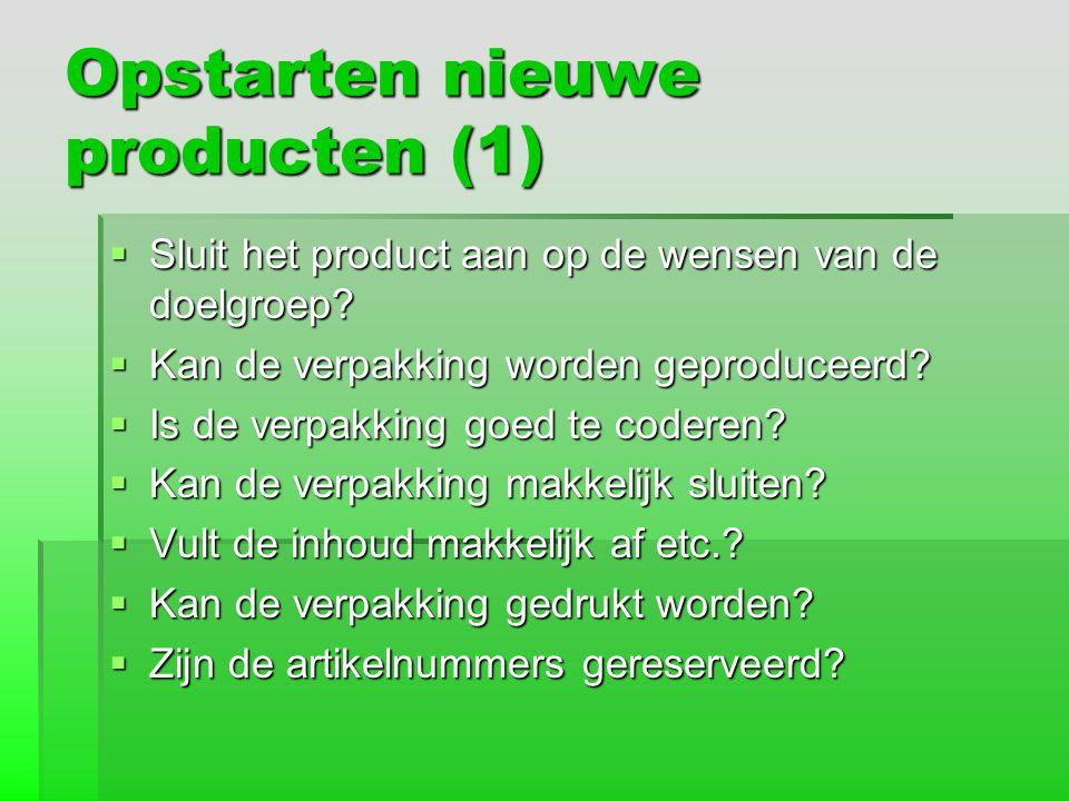 Opstarten nieuwe producten (1)