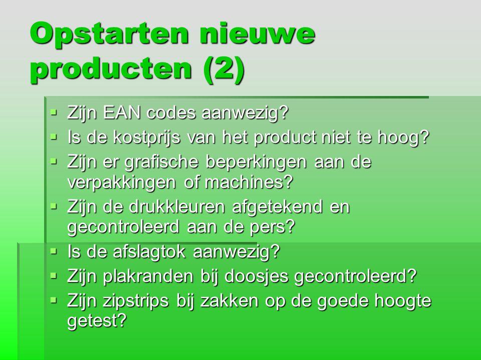 Opstarten nieuwe producten (2)