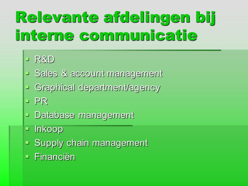 Relevante afdelingen bij interne communicatie