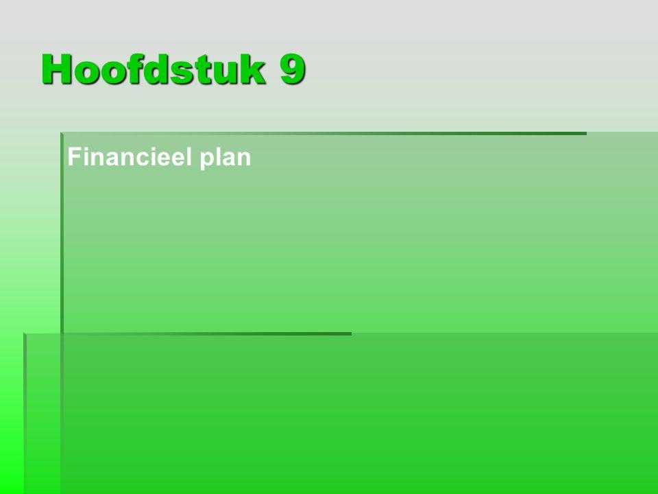 Hoofdstuk 9 Financieel plan