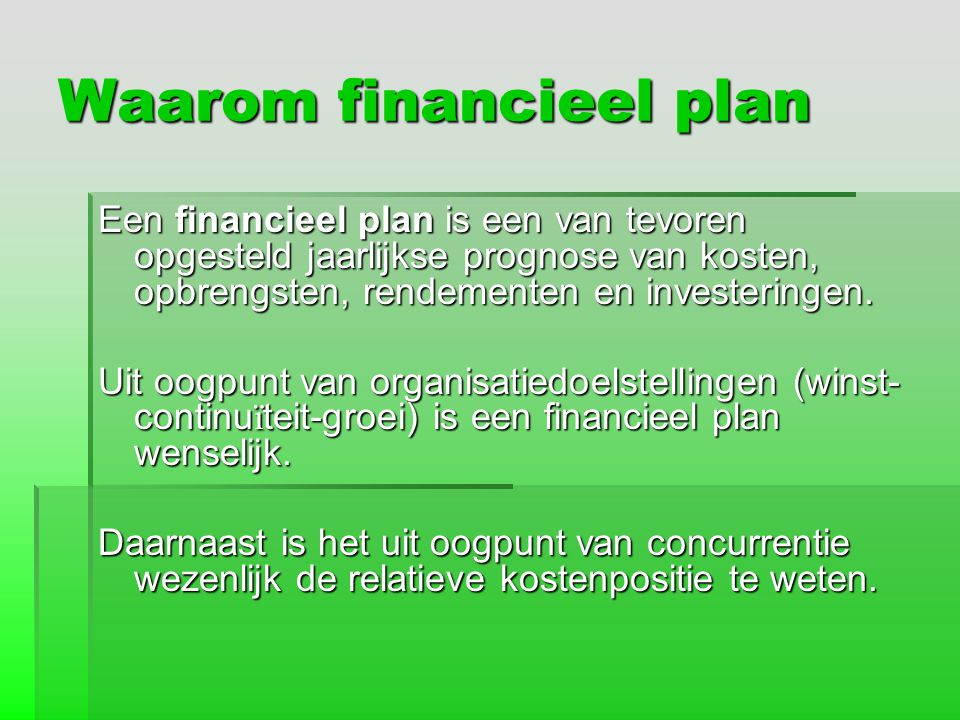 Waarom financieel plan