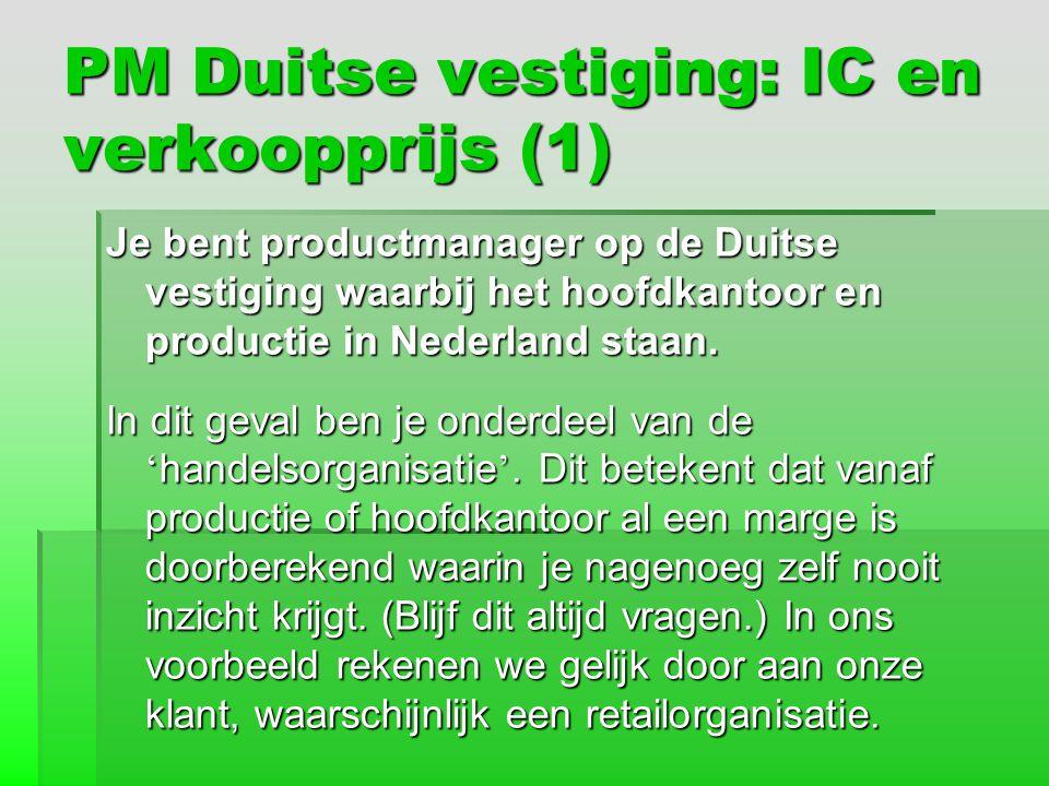 PM Duitse vestiging: IC en verkoopprijs (1)