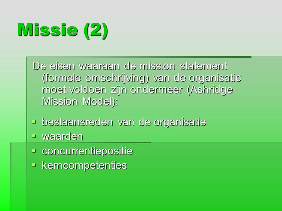 Missie (2) bestaansreden van de organisatie waarden