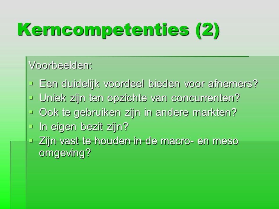 Kerncompetenties (2) Voorbeelden: