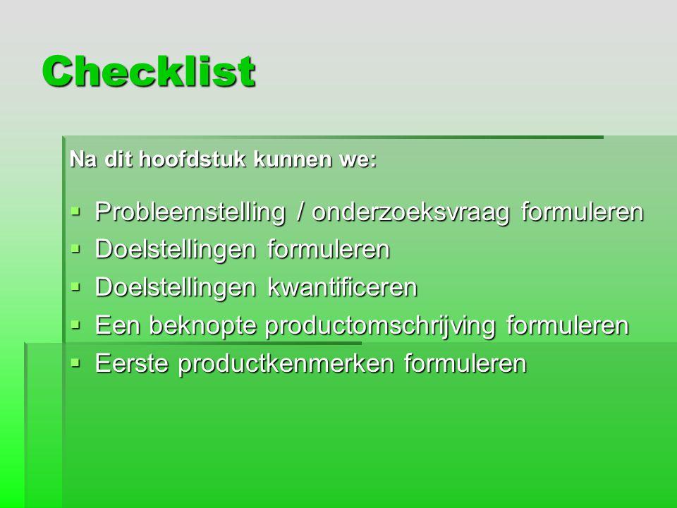 Checklist Probleemstelling / onderzoeksvraag formuleren