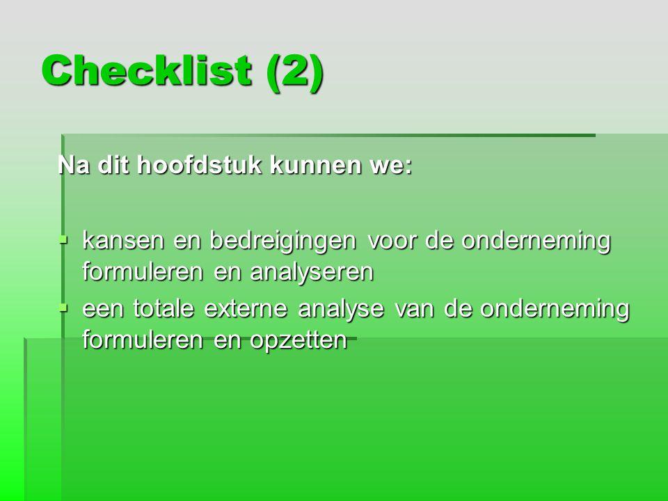 Checklist (2) Na dit hoofdstuk kunnen we: