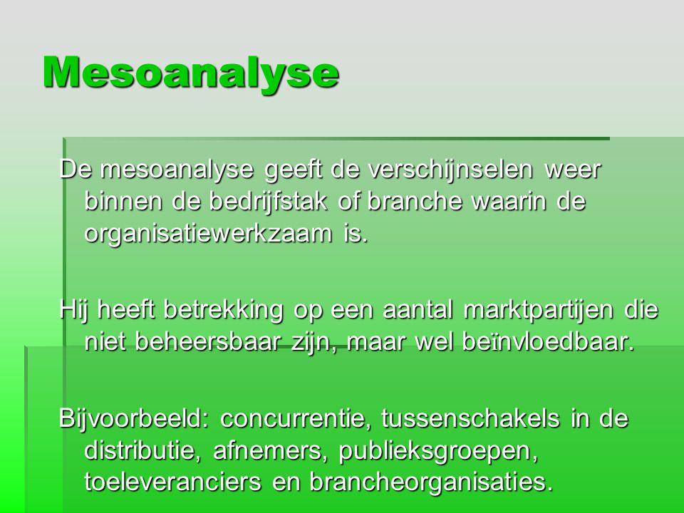 Mesoanalyse De mesoanalyse geeft de verschijnselen weer binnen de bedrijfstak of branche waarin de organisatiewerkzaam is.
