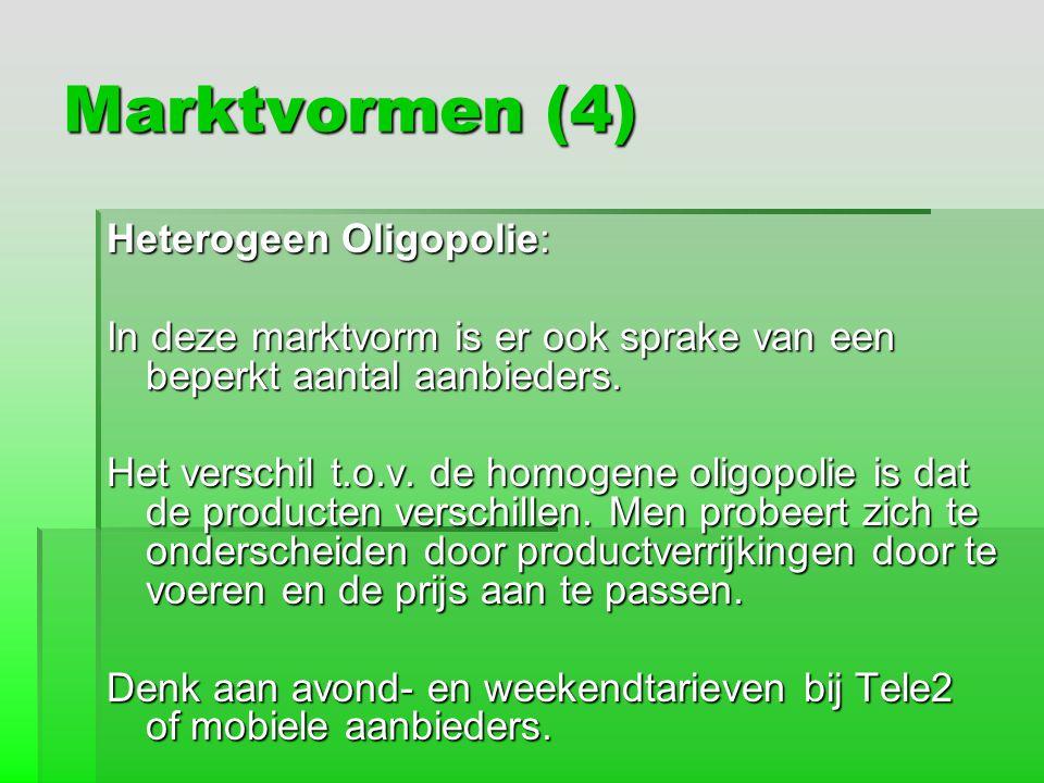 Marktvormen (4) Heterogeen Oligopolie:
