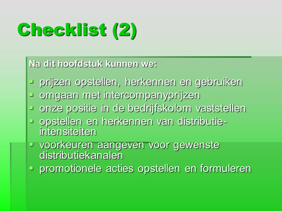 Checklist (2) prijzen opstellen, herkennen en gebruiken