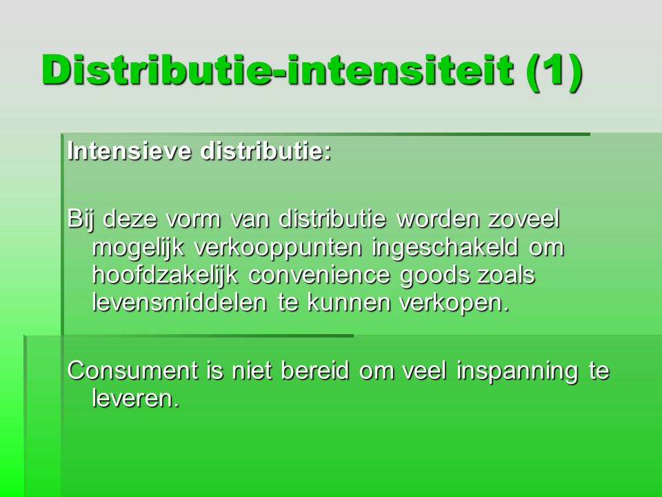 Distributie-intensiteit (1)