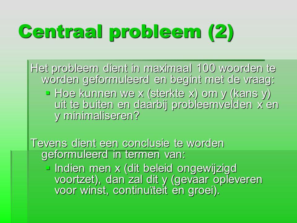 Centraal probleem (2) Het probleem dient in maximaal 100 woorden te worden geformuleerd en begint met de vraag: