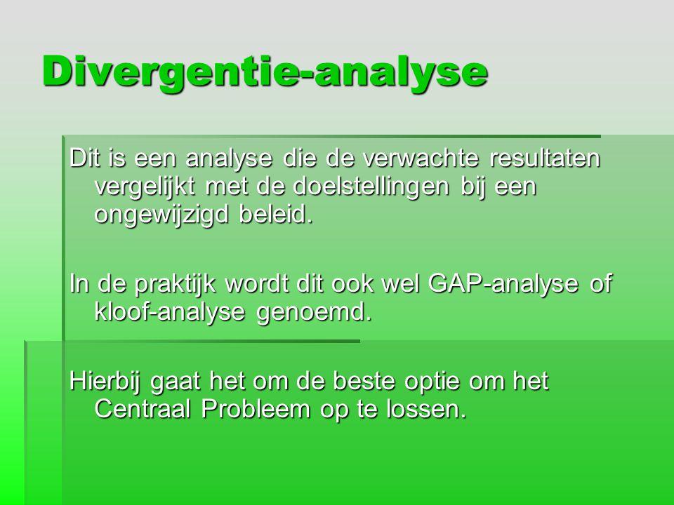 Divergentie-analyse Dit is een analyse die de verwachte resultaten vergelijkt met de doelstellingen bij een ongewijzigd beleid.
